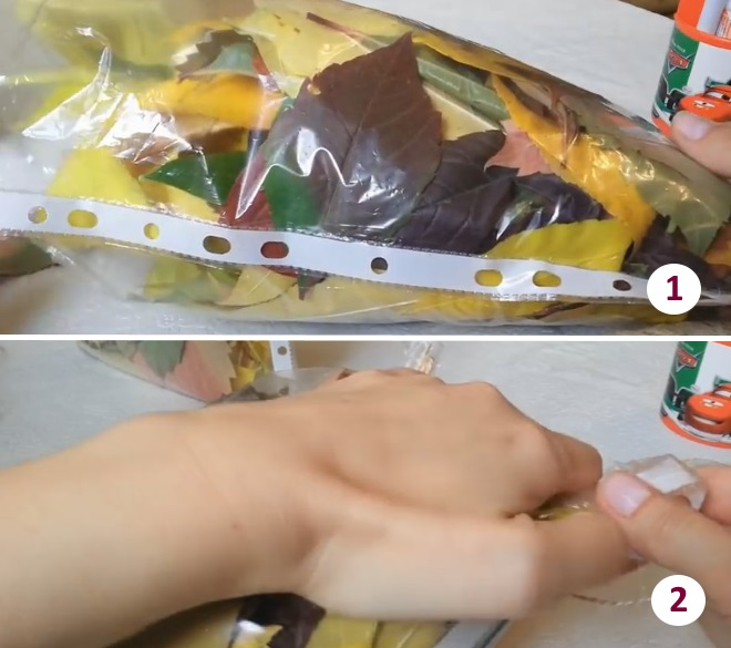 Изготовление совы из листьев по шагам