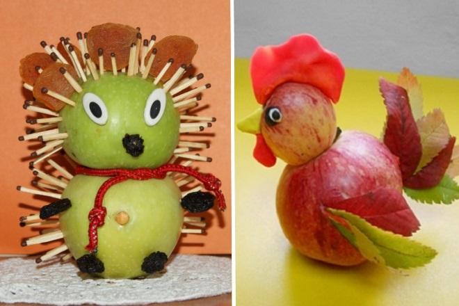 Ежик и петушок из яблок